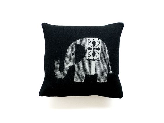Black Elephant Cushion by Sally Nencini