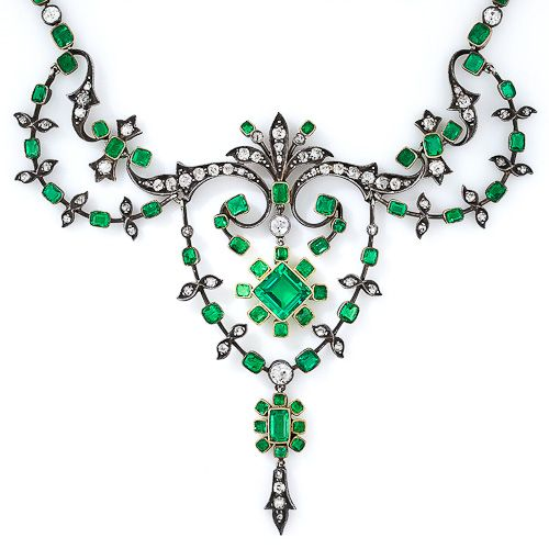Antique Colombian Gem Emerald and Diamond Necklace -- I would love to have this!! But at USD$48000 I never will.