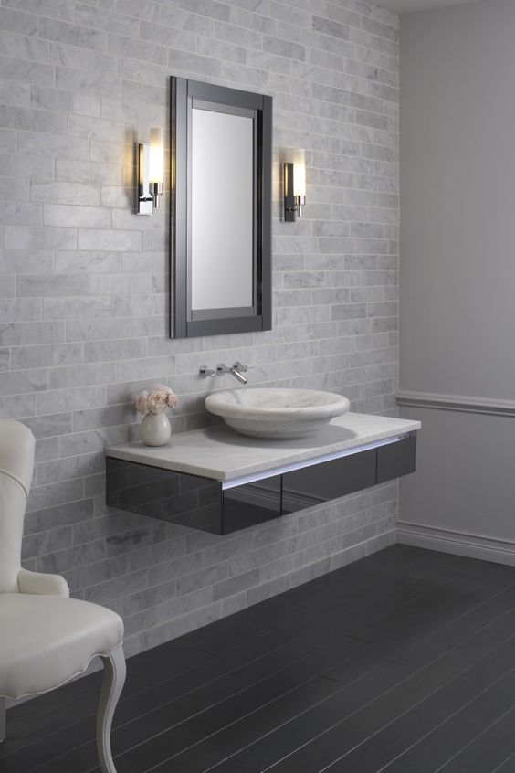 Floating vanity. | Amazing bathrooms | Pinterest | The o ...