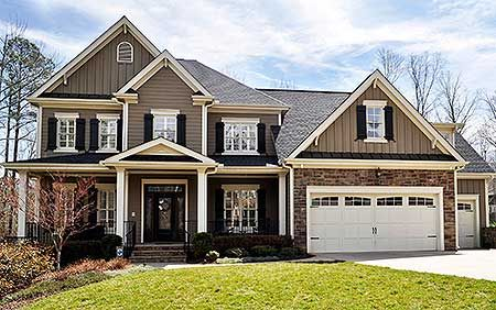 5 beds with master on main and four up with separate stairs to the massive rec room over the garage. 4,700+ square feet. Architectural Designs House Plan 50624TR. Ready when you are. Where do YOU want to build?