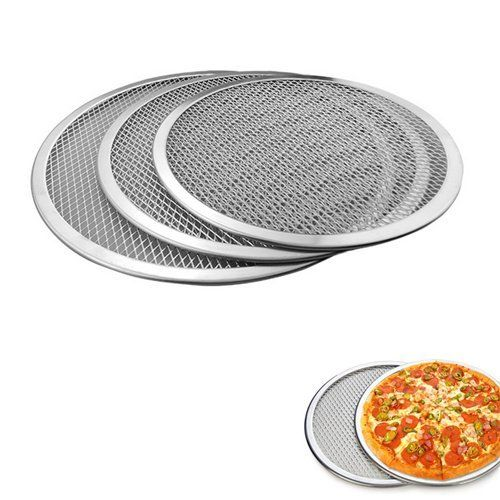 Auch 3 Pack Commercial Grade Thicken Seamless Rim Aluminum Mesh Pizza Screen Baked Pizza Pan Netting 9 Inch 10 Inch 12 Inch Pizza Pans Pizza Bake Pan Pizza