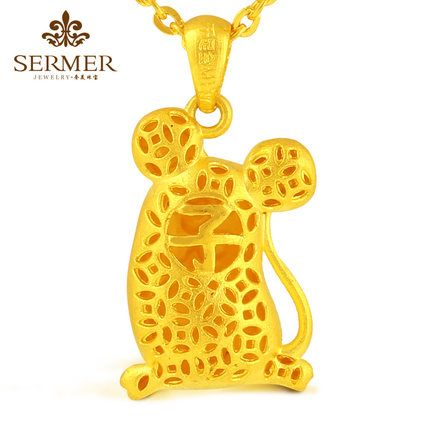 US luxury 999 gold pendants zodiac rat rat gold pendant necklace pendant genuine…