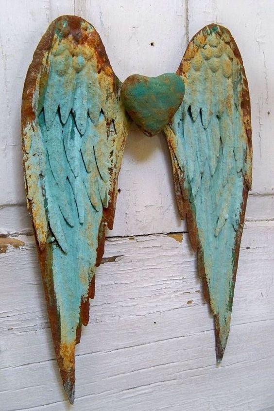 Heart wings #metal #patina #love #angel
