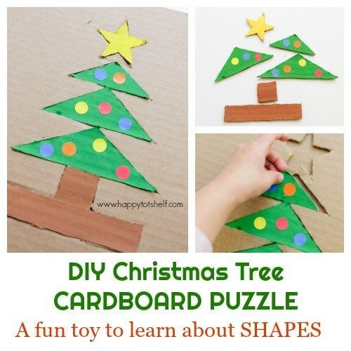 Christmas Tree Cardboard Puzzle Happy Tot Shelf Puzzle Crafts Christmas Activities For Kids Christmas Crafts For Toddlers
