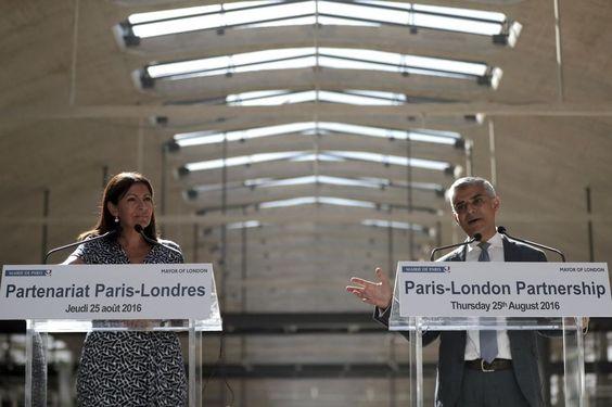 Anne Hidalgo et Sadiq Khan, à la halle Freyssinet.