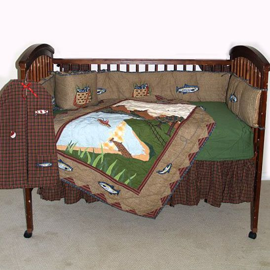 Gone fishing crib bedding for the baby for Fish crib bedding