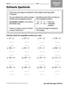 Estimate Quotients Reteach 22.3 Worksheet | Hot Resources 12.17 ...