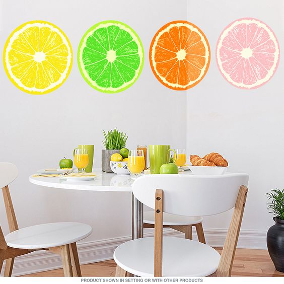 Fruit Slices Set of 4 Kitchen Wall Decals