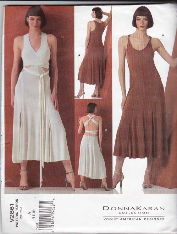 Vogue Sewing Pattern 2861 Misses Size 18-20-22 Donna Karan Two Different Knit Dresses Dance   Vogue+Sewing+Pattern+2861+Misses+Size+18-20-22+Donna+Karan+Two+Different+Knit+Dresses+Dance