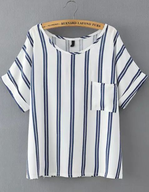 Blue Vertical Stripe Pockets Loose T-Shirt