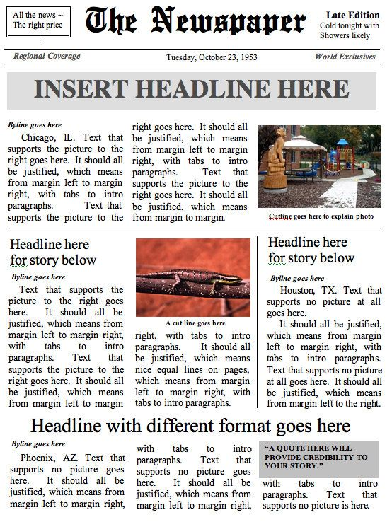 Front Page Newspaper Template Ms Word Document Newspaper