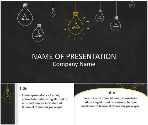 light bulbs on blackboard powerpoint template powerpoint pinterest l mpadas luzes e modelos. Black Bedroom Furniture Sets. Home Design Ideas