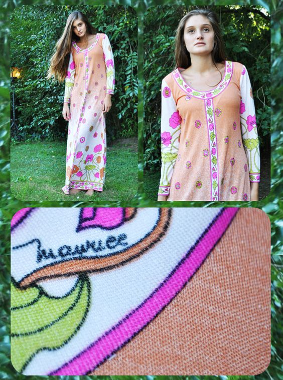 Vintage 1970s Maurice Signed Op Art Maxi Dress by LaChouetteSage, $140.00