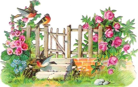 Oblaten Glanzbild scrap die cut chromo Vogel bird robin Zaun fence oiseau garden:
