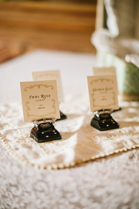 Small typewriter place card holders