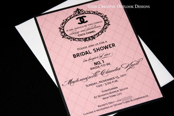 Classic Coco Chanel Party Wedding Shower  Invitation.. love it