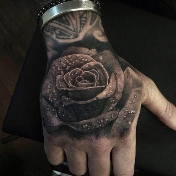 3D Rose with water drops Tattoo #Tattoo, #Tattooed, # ...