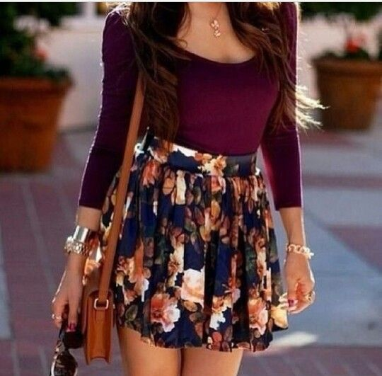 High Waisted Printed Skirt