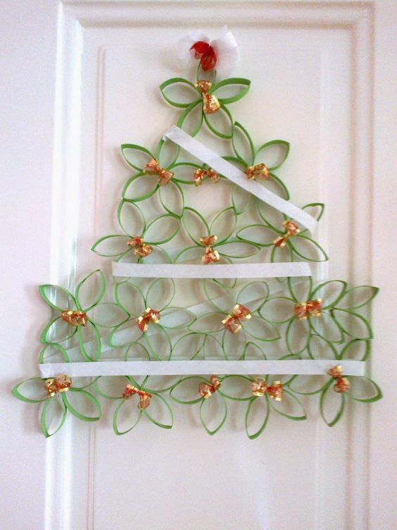 Cardboard tubes are recycled into a great little christmas for Uses for paper towel rolls