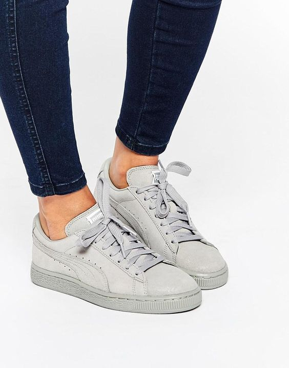 puma puma suede classic lo matt shine grey trainers at. Black Bedroom Furniture Sets. Home Design Ideas