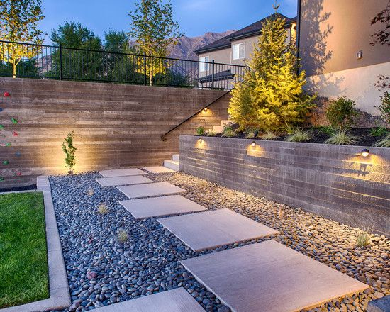 Contemporary garden path ideas stone gravel rectangular for Rock stepping stones landscaping