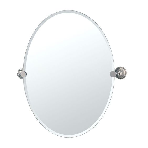 Gatco Laurel Ave 24 in. x 26.5 in. Frameless Oval Mirror in Polished Nickel