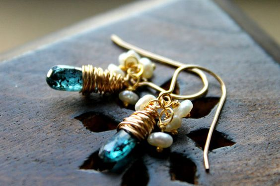 Gold , Pearl and Kyanite earrings - Lovely kyanite with Keishi Pearls wirewrapped gold fill earrings