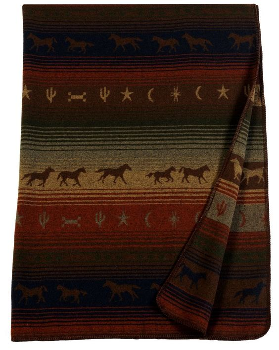 Mustang Canyon Western Horses Throw Blanket 60x72 by wooded river