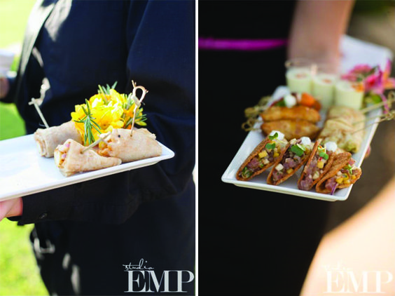 Our chicken quesadilla cornucopias and a mixed tray of appetizers for the bride & groom