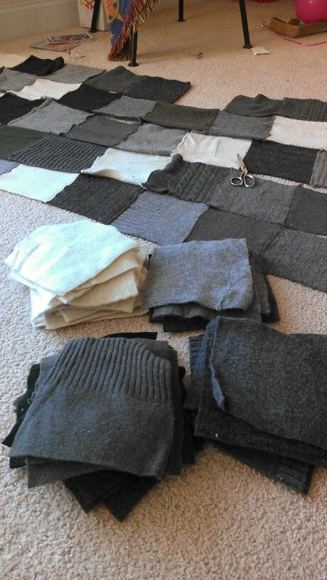 Upcycled sweater blanket: