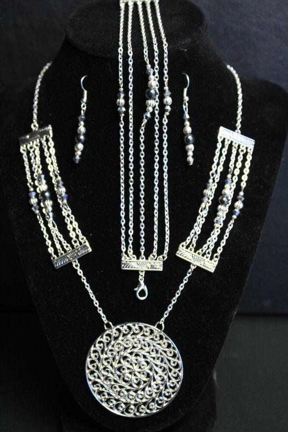 Silver Filigree Medallion Set