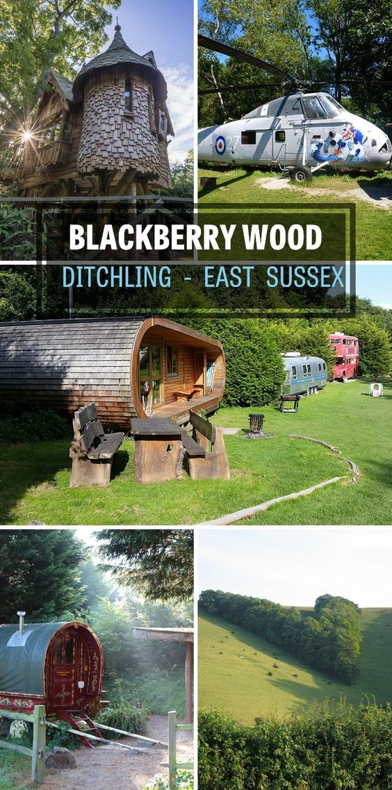 Blackberry Wood near Ditchling in Sussex - the quirkiest glamping site we know! Where else can you stay in a treehouse, converted helicopter or double-decker bus?!