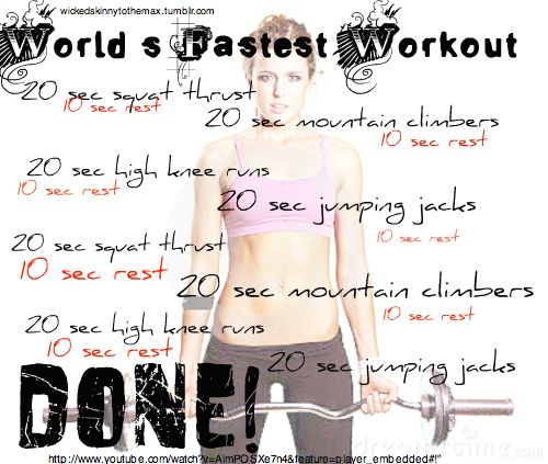 [WORLD'S FASTEST WORKOUT]  - Burns as many calories as a 40-60 minutes run.  - Makes your body adapt and improve very quickly.  - Increases metabolism for next 36 hrs  - Takes only FOUR minutes, no excuses.