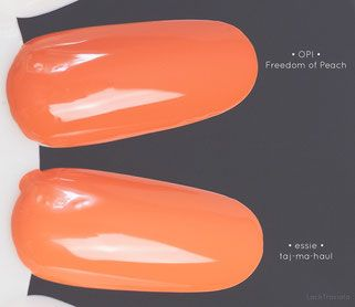 Vergleich / comparison swatch OPI • Freedom of Peach • Washington D.C. Collection fall 2016