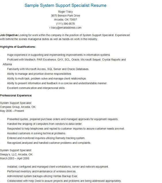 Sample Regulatory Affairs Specialist Resume resame Pinterest - it support specialist resume