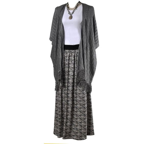 MarSea Modest Swim & Casualwear Maxi Skirt ($60) ❤ liked on Polyvore featuring skirts, grey, see-through skirts, draped maxi skirt, stretch skirts, sheer skirt and gray maxi skirt