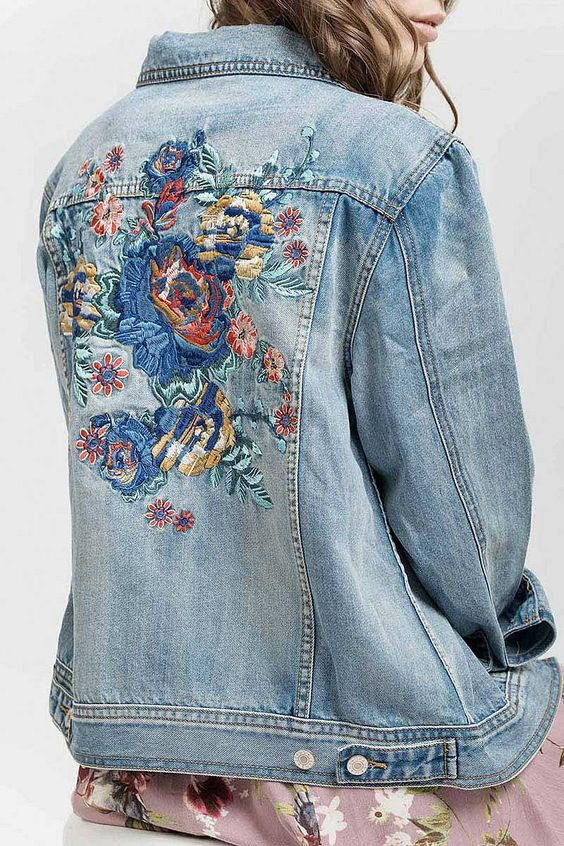 Denim jacket with embroidered detail. flattering fit and true to size