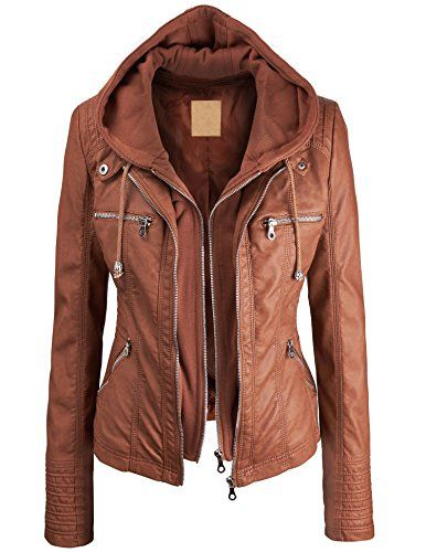 MBJ Womens Faux Leather Zip Up Moto Jacket With Hoodie at Amazon