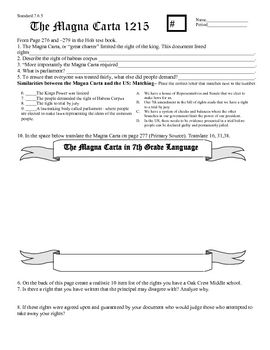 Printables Magna Carta Worksheet the magna carta holt textbook graphic organizer standard7 6 5 students outline important and long lasting achievements of with medieval history
