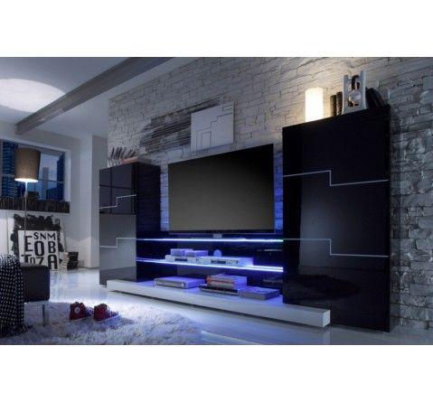 Ensemble meuble tv mural noir laqu led miami for Meuble tv mural noir laque
