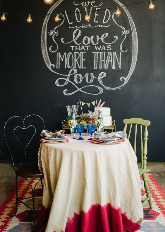 ♥ ♥ SO cute! Fun groom + bride table with Edgar Allan Poe quote! ♥ ♥