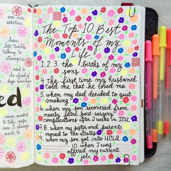 Day 18 of the #listersgottalist challenge: top 10 best moments of my life  You'll have to search for the journaling amidst all the flowers, I got a little carried away doodling  #hobonichi...