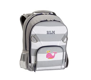 Small Backpack, Fairfax Stripe Gray/White with Navy Trim Whale