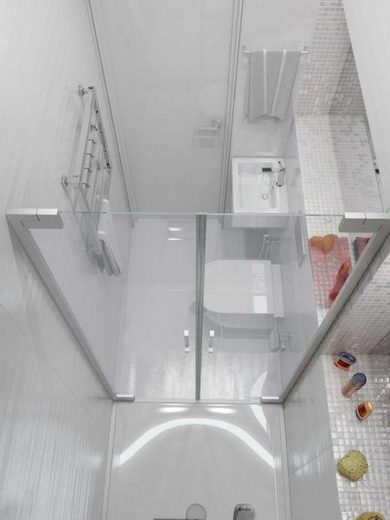 salle d\'eau 3m2, carrelage blanc, idee salle de bain petite ...