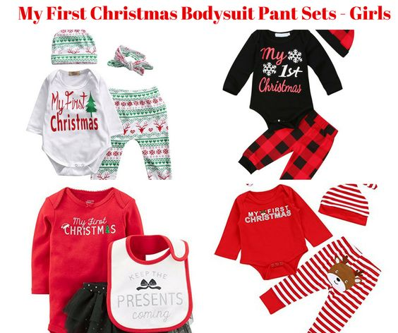 Baby Girl My First Christmas Bodysuit Pants Sets