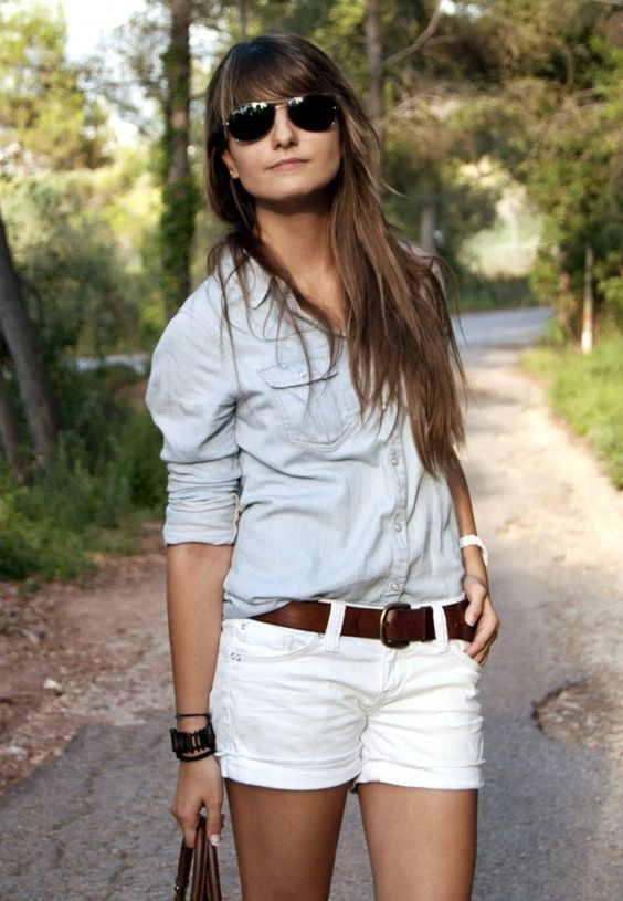 cute white shorts and brown belt | Fashion | Pinterest | Brown ...