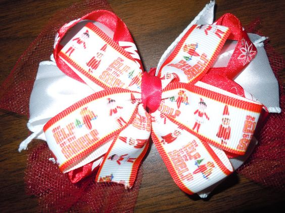 Check out this item in my Etsy shop https://www.etsy.com/listing/252773091/elf-on-a-shelf-christmas-hair-bow