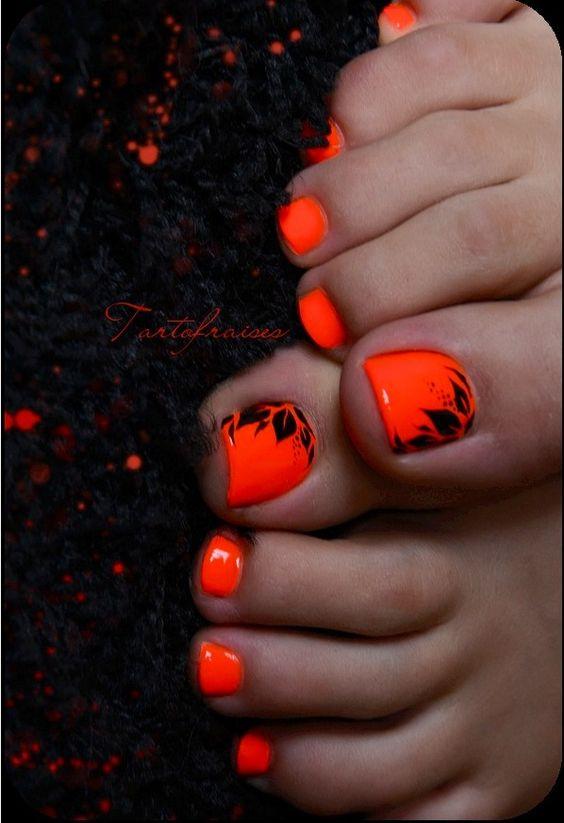 Awesome pedicure: Summer Toe, Toenail Design, Orange Toe, I Asked, Bright Color, Naildesign, Nails When