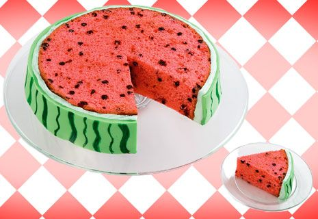 Fun idea for summer. I'd probably do it as a watermelon half, so the cake itself wasn't exposed to dry out.