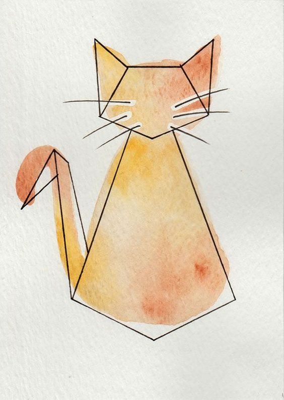 """Aquarelle """"Chat"""" - Série Origami via 1.2.3 P'tits Choux. Click on the image to see more!"""